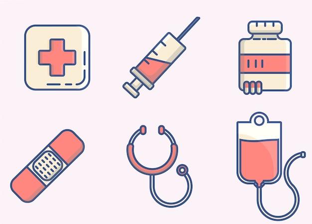 Lignes d'élément icône médicale Vecteur Premium
