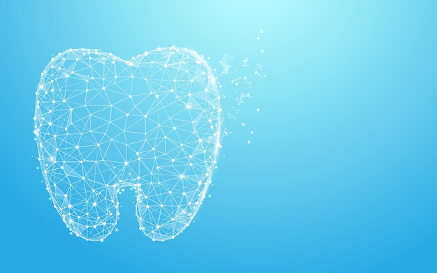 Lignes de forme de dent saine et conception de style de particule Vecteur Premium