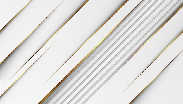 Lignes De Lumière Dorées De Luxe Avec Gris Blanc Vecteur Premium