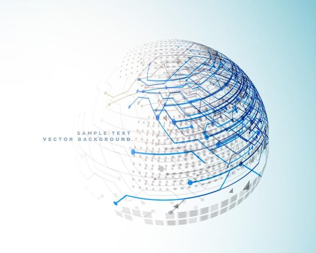 Lignes numériques de technologie dans le style de sphère 3d Vecteur gratuit