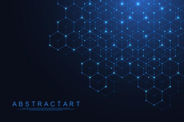 Les Lignes Et Les Points Abstraits De La Technologie Relient Le Fond Aux Hexagones. Connexion De Données Numériques Hexagonales Et Concept De Big Data. Visualisation De Données Numériques Hexadécimales. . Vecteur Premium