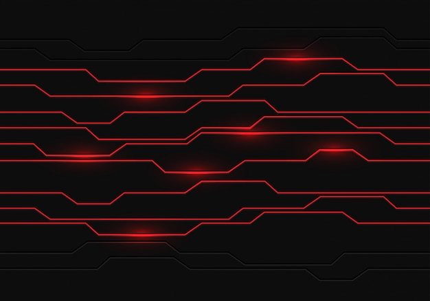 Des lignes rouges claires géométriques sur fond futuriste gris foncé. Vecteur Premium
