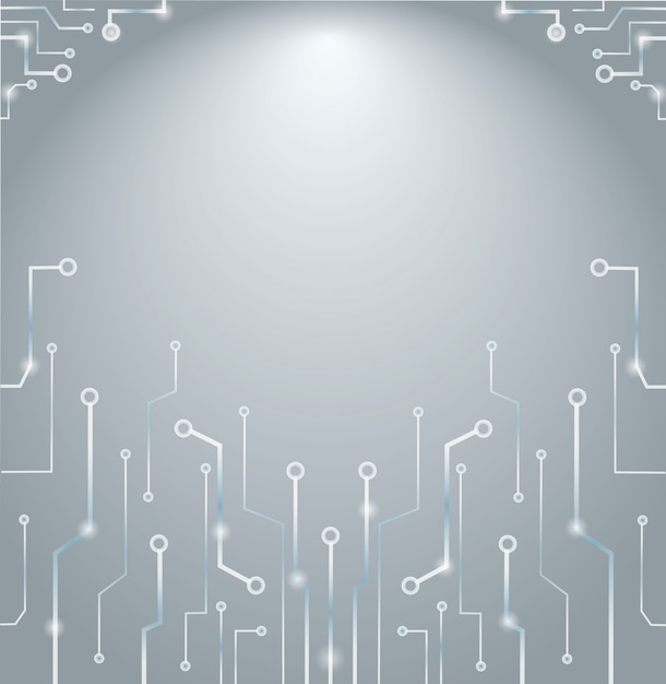 Lignes de technologie abstraites et fond de l'espace Vecteur Premium