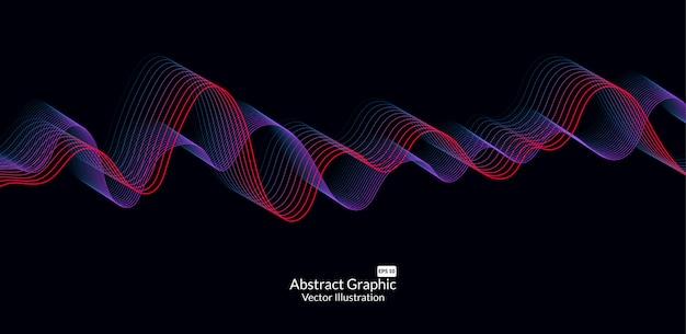 Lignes de vagues colorées abstraites sur fond noir Vecteur Premium