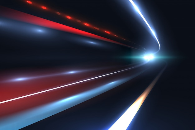 Lignes de vitesse de voiture. sentiers de lumière tragiques de longue exposition fond abstrait vector Vecteur Premium