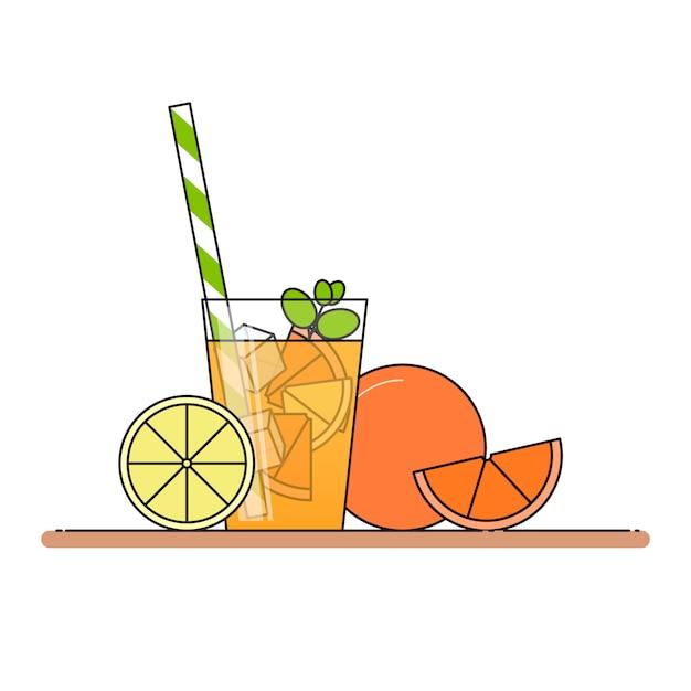 Limonade orange avec des tranches de fruits Vecteur Premium