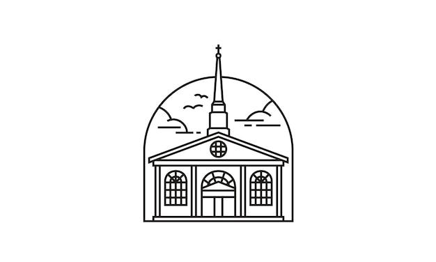 Line art église / christian logo design Vecteur Premium