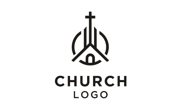 Line art église / christian logo design Vecteur Premium