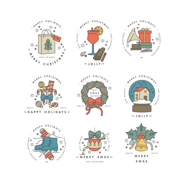 Linéaire Pour La Couleur Colorée De Carte De Voeux De Noël. Vecteur Premium