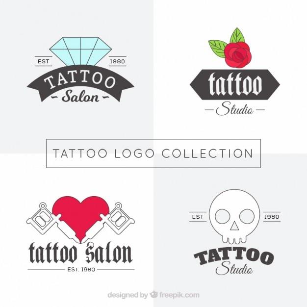 Linéaires logos studio tattoos set Vecteur gratuit