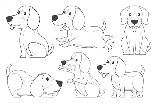 Lineart beagle pour cahier de coloriage Vecteur Premium