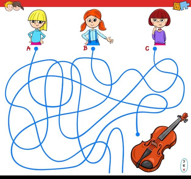 Lines or maze puzzle game pour les enfants Vecteur Premium
