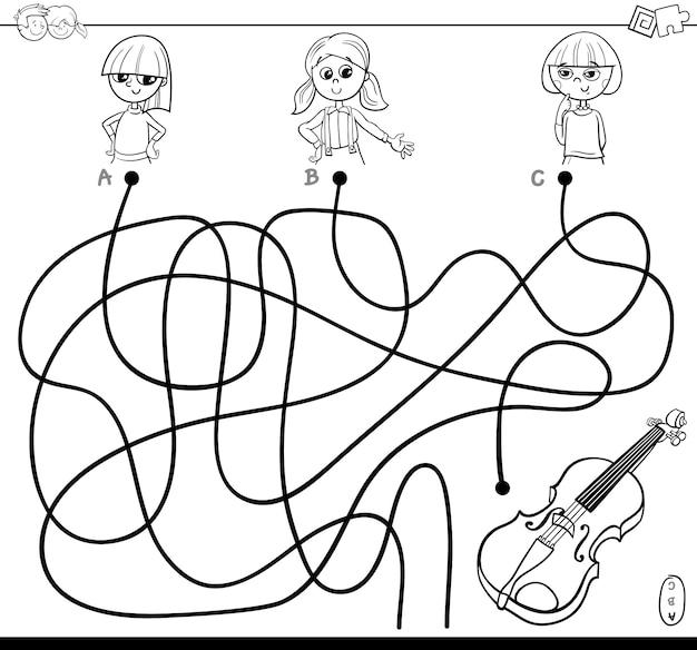 Lines or maze puzzle game pour enfants Vecteur Premium