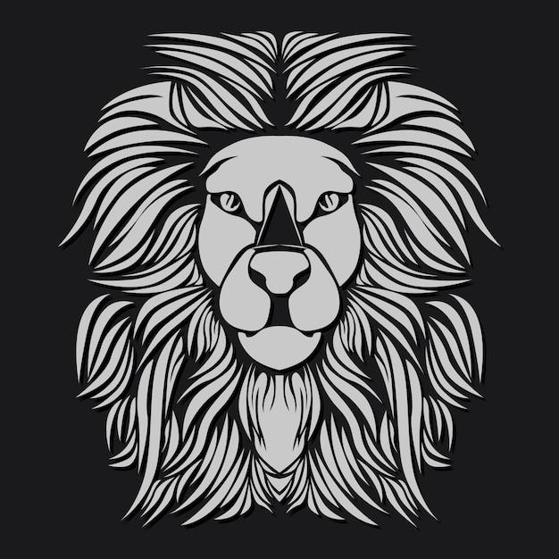 Lion blanc Vecteur Premium