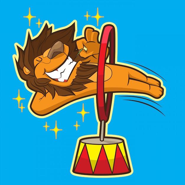 Lion de cirque mignon Vecteur Premium