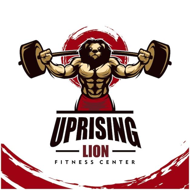 Lion Avec Un Corps Solide, Un Club De Fitness Ou Un Logo De Gym. Vecteur Premium