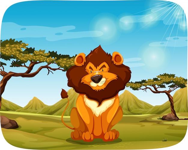 Un lion dans la nature Vecteur gratuit