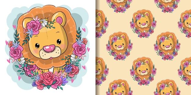 Lion de dessin animé mignon avec des fleurs, modèle sans couture Vecteur Premium