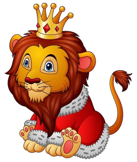 Lion De Dessin Animé En Tenue De Roi   Vecteur Premium