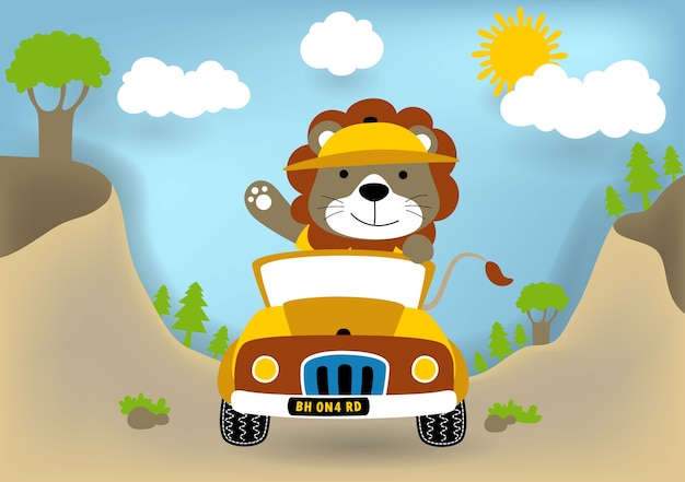 Lion drôle sur la bande dessinée de véhicule Vecteur Premium