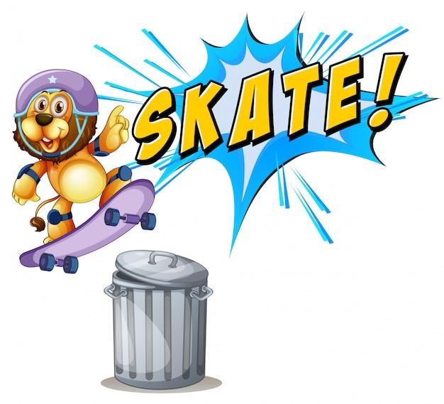 Lion faisant de la planche à roulettes au-dessus d'une poubelle Vecteur gratuit