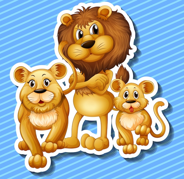Lion famille avec petit lionceau Vecteur gratuit