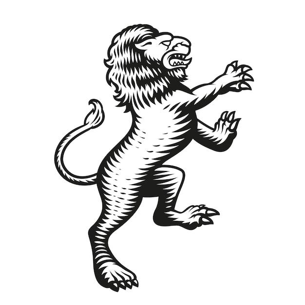 Lion Héraldique Isolé Sur Blanc Vecteur Premium
