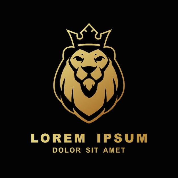 Lion logo face king head vector icône modèle illustration Vecteur Premium