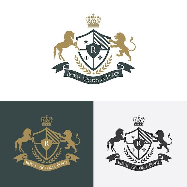 Lion Et Logo De Luxe De Cheval. Logo Des Crêtes. Création De Logo Pour L'hôtellerie, Resort, Restaurant, Immobilier, Spa, Mode Identité De Marque Vecteur Premium