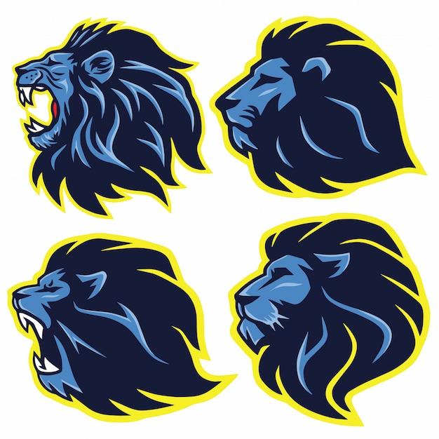 Lion logo mascot set. collection premium. illustration vectorielle design Vecteur Premium