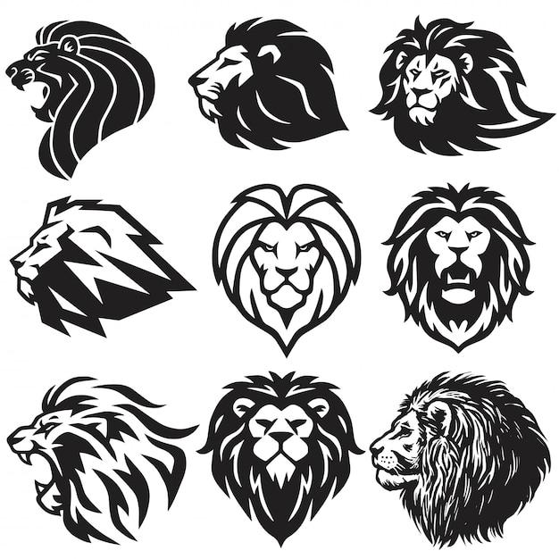 Lion logo set Vecteur Premium