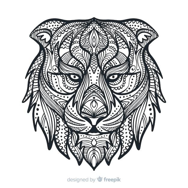 Lion mandala Vecteur gratuit
