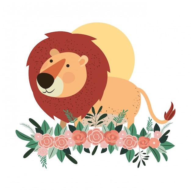 Lion mignon et adorable avec décoration florale Vecteur Premium