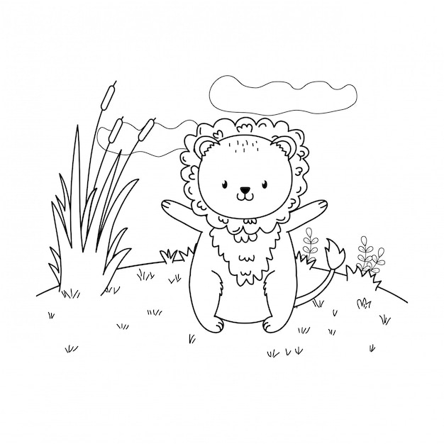 Lion mignon bois dans le caractère de champ Vecteur Premium