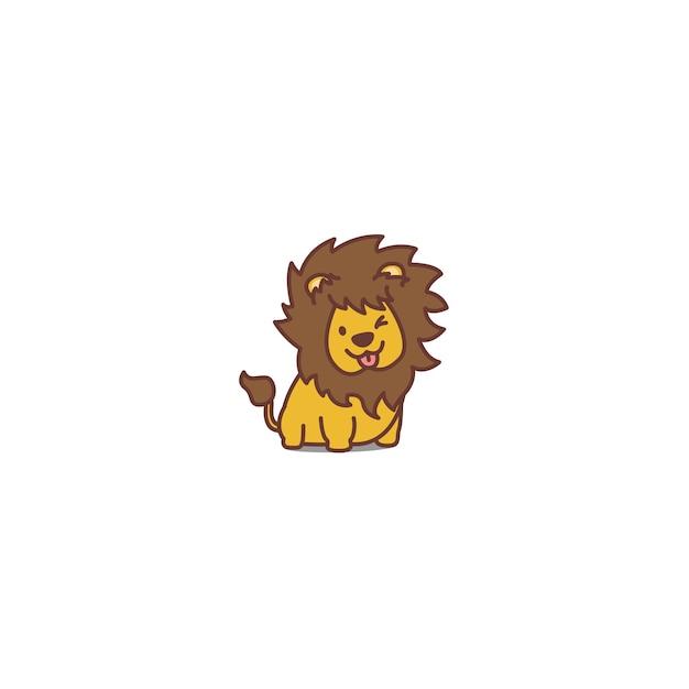 Lion mignon clignotant icône de dessin animé Vecteur Premium