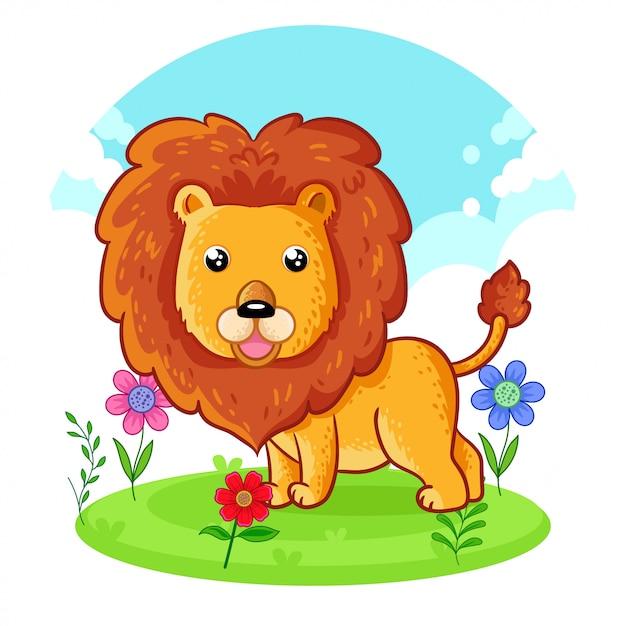 Lion Mignon Debout Sur Un Pré De Fleurs. Vecteur Premium