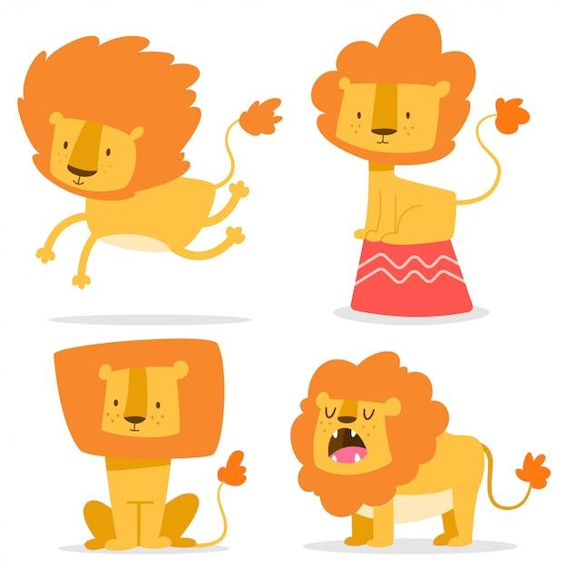 Lion mignon jeu de dessin animé simple vecteur Vecteur Premium