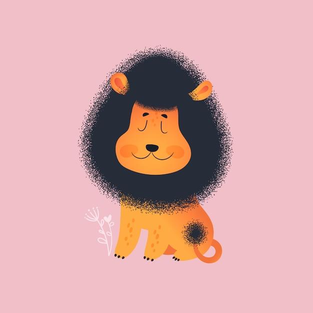 Lion mignon Vecteur Premium