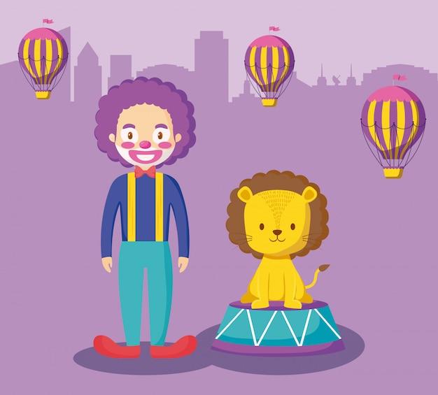 Lion mignonne avec clown et ballons air chaud Vecteur Premium