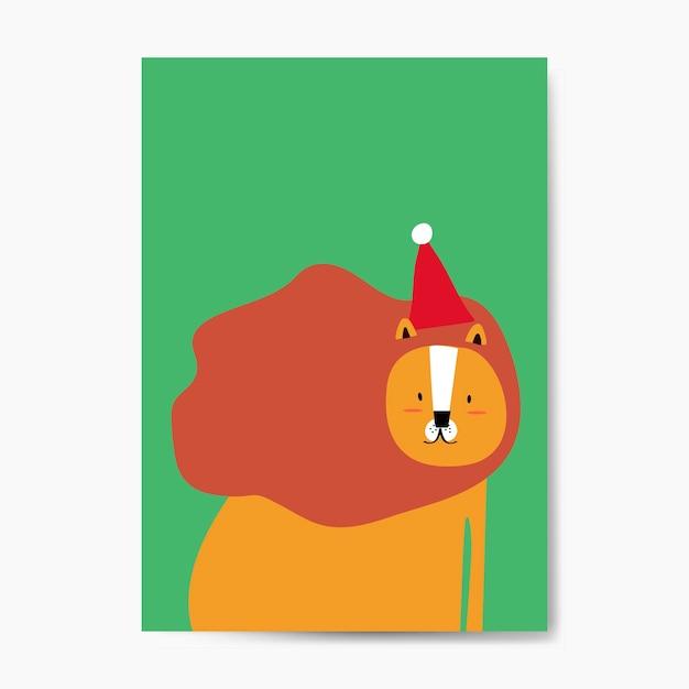 Lion portant un chapeau de noël dans un vecteur de style dessin animé Vecteur gratuit