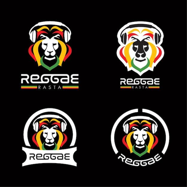 Lion reggae rasta logos Vecteur Premium