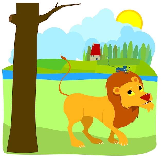 Le lion et la souris Vecteur Premium