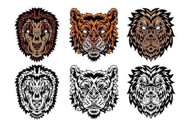 Lion visage animal, style rétro vintage tigre. Vecteur Premium