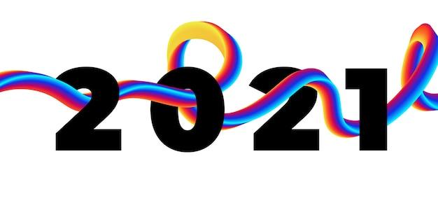Liquide De Coup De Pinceau Coloré 2021 Bonne Année Vecteur Premium