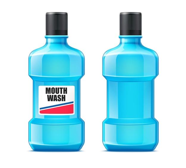 Liquide De Lavage De Bouche Réaliste Dans Une Bouteille En Plastique. Soins Bucco-dentaires. Produit De Nettoyage Des Dents. Vecteur Premium