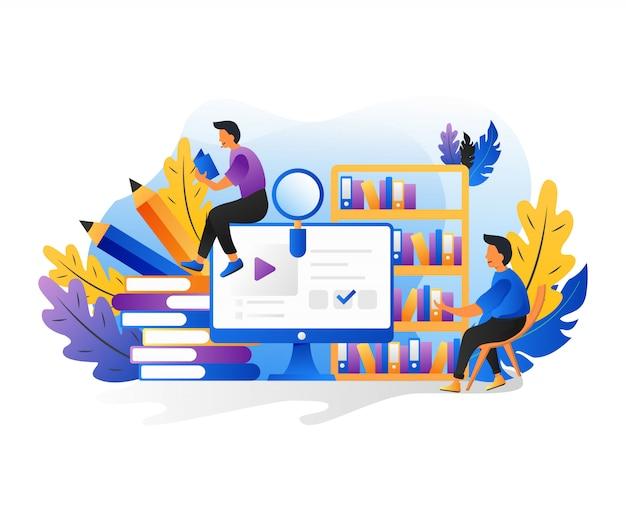 Lire Des Gens. Caractères Avec Le Concept De Livres, Lecture D'e-book Et étude En Ligne. Vecteur Premium