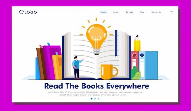 Lire les livres partout illustration de la page de destination Vecteur Premium