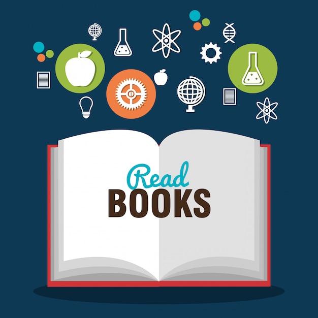 Lire des livres Vecteur Premium