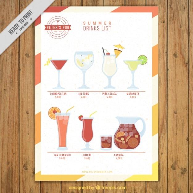 Liste des boissons de fruits d'été Vecteur gratuit