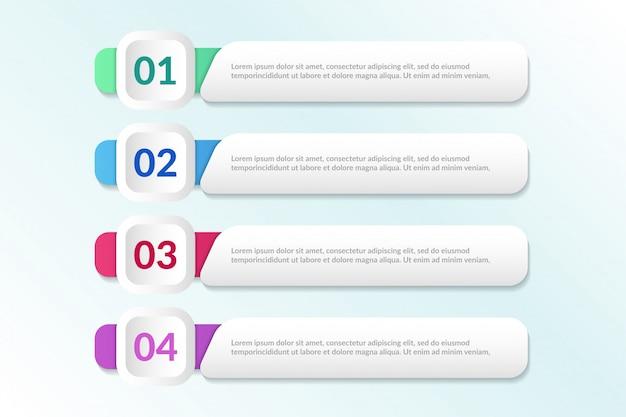 Liste conception infographique avec 4 listes info Vecteur Premium